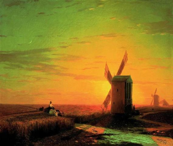 ivanaivazovsky-windmills-in-the-ukrainian-steppe-at-sunset