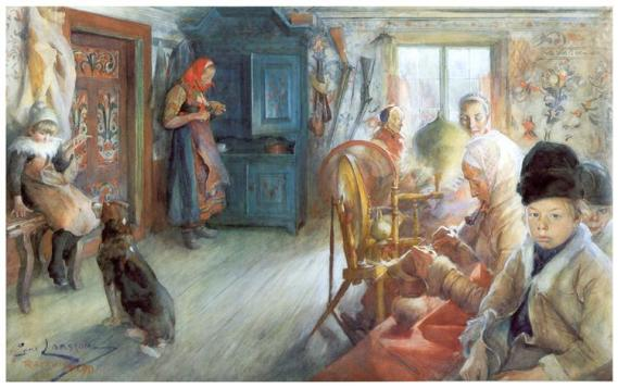"""Peasant Interior in Winter"" by Carl Larsson (1853-1919) Swedish Painter & Interior Designer"