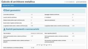 app calcolo architrave metallica - riepilogo dati input - ingegnerone.com