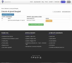 schermata di archivio app verifica giunto flangiato - ingegnerone.com