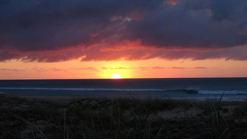 Solnedgang over Fraser island