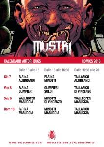 BUGS Comics e MOSTRI a Romics di Aprile - Calendario
