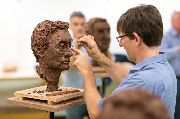 Photography of students on the short course - Portrait heads on terracotta