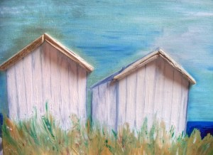 Beach huts by Carol Lloyd, Worthing Art Trail