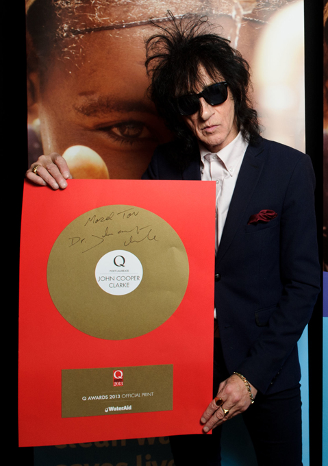 John Cooper Clarke with his Q Magazine Poet Laureate award
