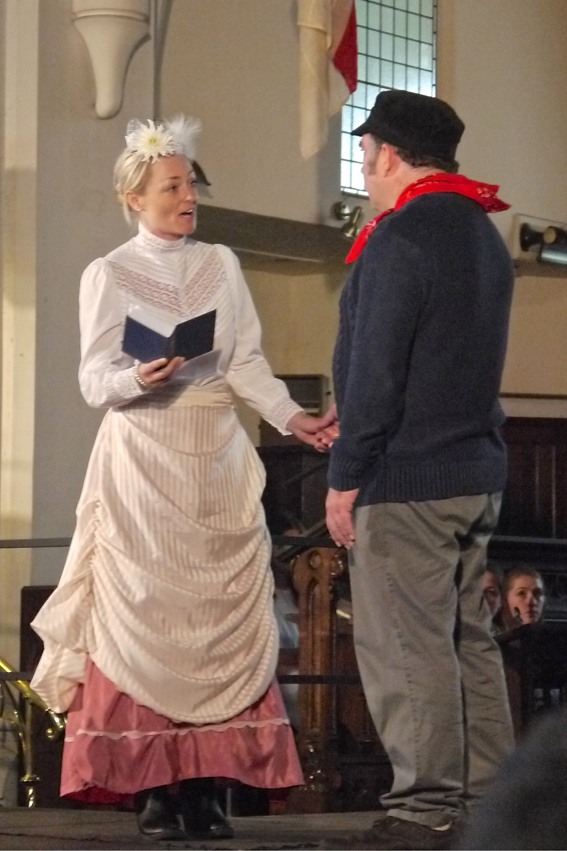 Miss Green the Sunday school teacher (Claire Cossins) and Joseph Hebley  (Ben Solomon) photo by Vincent Knight
