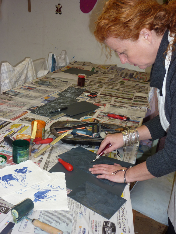 Lino print making at Lindfield Art Studio