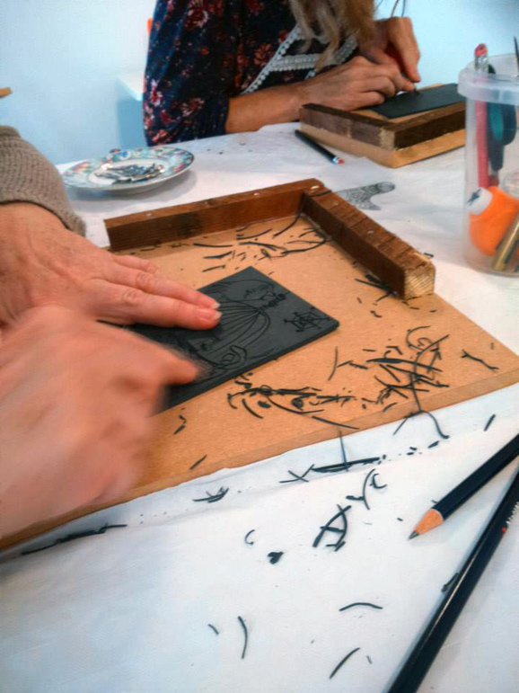 Lino print workshop at Pear Tree Studio