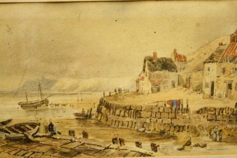 akvarell, gammal Engelsk kustby