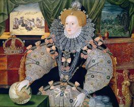 Retrato Elizabeth I con la Batalla de España al fondo