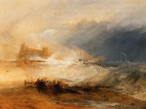 'Wreckers -- Coast of Northumberland, with a Steam-Boat Assisting a Ship off Shore', by J M W Turner, between 1833-4.