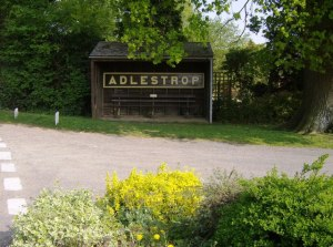Adlestrop station sign, now in the bus shelter at Adlestrop. Photo by Graham Horn.