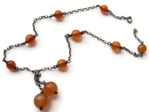 Art Deco carnelian and silver lavalier necklace.