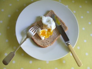 Breakfast (one of the Cotswold Legbar eggs).