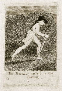 'The Traveller hasteth in the Evening 14 Publishd 17 May 1793 by WBlake Lambeth' Engraving from 'For Children. The Gates of Paradise', by William Blake, 1793.