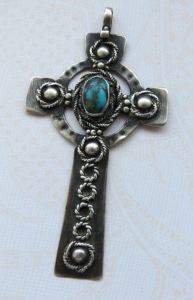 Mary Thew. Matirx turquoise and silver Celtic cross pendant, signed on the back with Mary's 'T' mark. Her signed pieces are very rare. For sale on Etsy: click on photo for details.