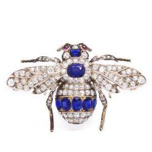 Victorian sapphire and diamond bumblebee brooch.