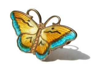 Horar Prydz small utterfly brooch, silver, vermeil and guilloche enamel, 1950s, for sale in my Etsy shop.