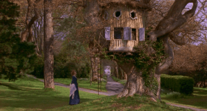 Margaret Dashwood's treehouse int eh film Sense and Sensibility, filmed at Saltram House,.