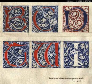 Letters designed by William Morris.