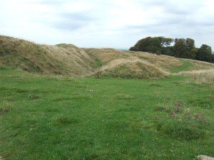 The earthworks of the Iron Age hillfort.