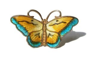 Hroar Prydz enamel and silver with vermeil butterfly brooch. For sale in my Esty shop.