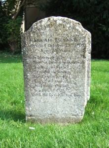 Hannah Twynnoy's gravestone.