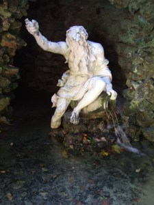 in his grotto.