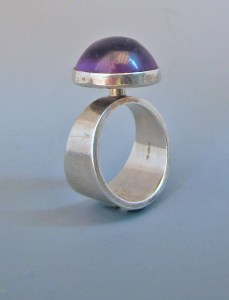 Niles Erik From amethyst and silver modernist ring.