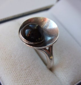 Niels Erik From onyx and sterling silver modernist ring, for sale in my Etsy shop. Click on photo for details.