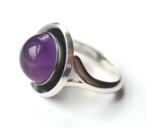 N E From modernist amethyst ring. For sale in my Etsy shop: click on photo for details.