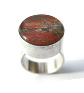 Vintage modernist moss agate and sterling silver ring by N E From. For sale in my Etsy shop: click on photo for details.