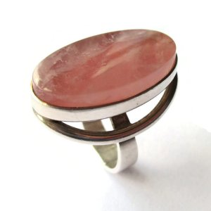 N E From modernist rose quartz and sterling silver ring. For sale in my Etsy shop: click on photo for details.