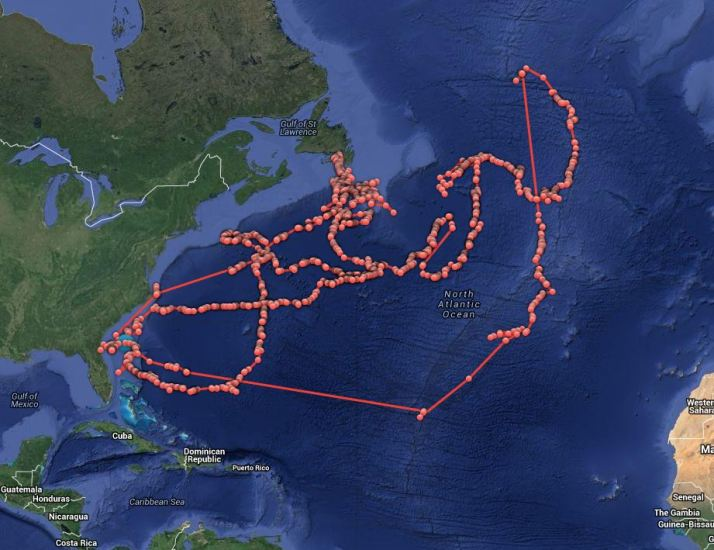 Lydia's track on ocearch.org.