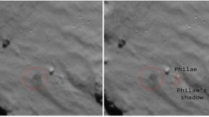 Philae's initial landing place on the comet, before the first of its tow bounces. She was right on target.