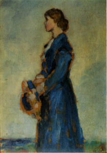 Jessie M King painted by her husband E A Taylor. Undated.