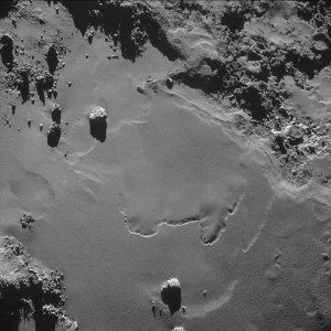 Much smoother terrain on the comet. Not the landing spot, but the sort of place that has been chosen, with fewer obstacles.
