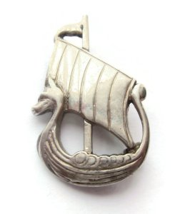 Sterling silver Viking ship brooch by Shetland Silvercraft, 1968. For sale in my Etsy shop: click on photo for details.