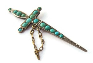 Victoriian Persian turquoise dagger jabot brooch. For sale in my Etsy shop: click on photo for details. #290.