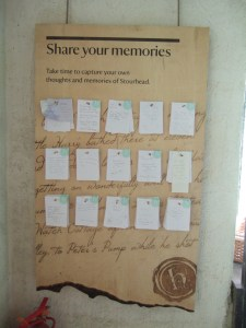 A memory board within the Gothic Cottage.