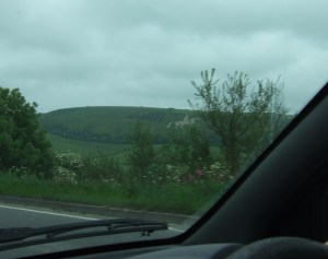 We drove past this on our (circuitous) way home: the Osmington White Horse, a hill figure created in 1808, and 85 m (280 feet) long and 98 m (323 feet) high.