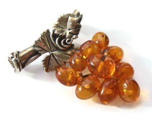 Baltic amber and sterling silver brooch, for sale in my Etsy shop. Click for details.