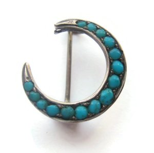 Persian turquoise crescent moon brooch. For sale in my Etsy shop: click on photo for details. #433.