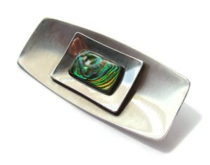 Vintage abalone and stainless steel brooch.