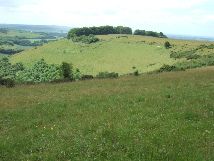 The spur of Fontmell Down, part of the chalk downland above the Blackmore Vale in Dorset.