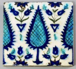 Tile for sale at Rosebery's Auctuon, October 2015, described as 'A Persian tile, 19th century, decorated with stylised foliage and leaves, 23 x 23cm'.