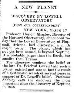 The short piece in The Times, 14 March 1930, that