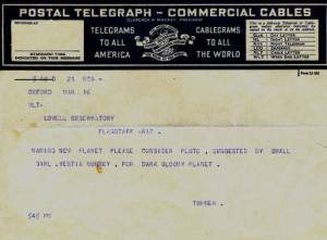 Turner's cable to the Lowell Observatory. Lowell Observatory Archives.