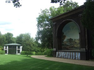 The Lower Indian Room (left) and the Singing Theatre (right) at the Larmer Tree Gardens.