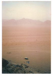 Camping out in wadi Rum, 1985.